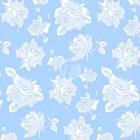 Тик пуходержащий 100% хлопок, дизайн белые розы - 411
