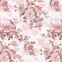 Тик пуходержащий 100% хлопок, дизайн цветы роз - 367